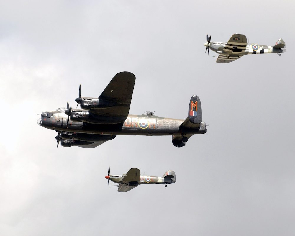 BBMF Spitfire, Lancaster and Hurricane. Image Crown copyright